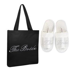 Black The Bride Tote Bag and OT Slippers Spa Set - varsanystore