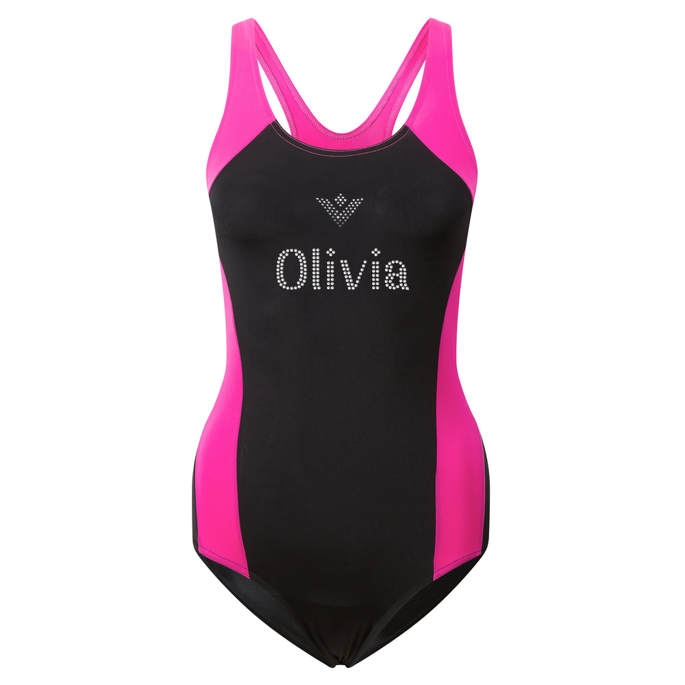 Personalised Girls Swimming Swimsuit in Diamante - varsanystore