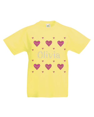 Personalised Girls Hearts T-Shirt - varsanystore