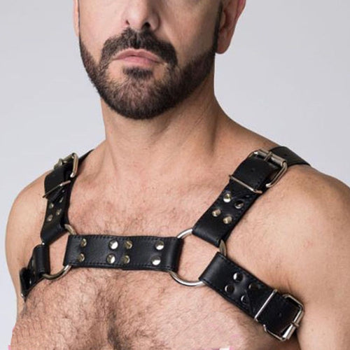 Leather Studded Chest Harness