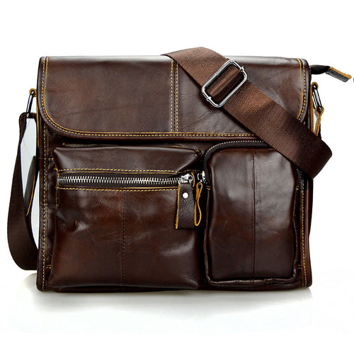 Wax Genuine Leather Men Bag