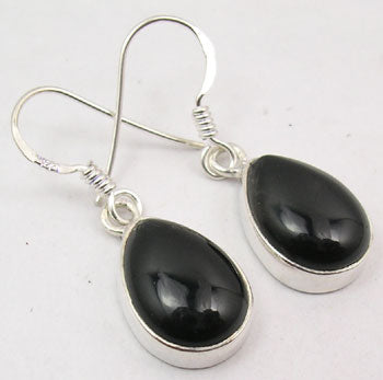 Black Onyx Sterling Silver Teardrop Earrings
