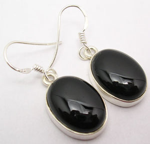 Black Onyx Sterling Silver Large Oval Earrings