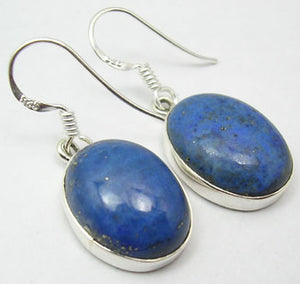 Lapis Lazuli Sterling Silver Large Oval Earrings