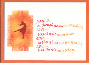 'Dance, Love, Sing Live' Greetings Card