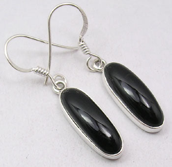 Black Onyx Sterling Silver Long Oval Earrings