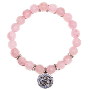 Rose Quartz Ohm Charm Bracelet