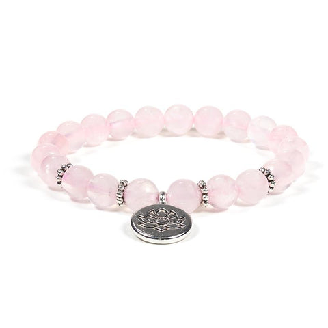 Rose Quartz Lotus Charm Bracelet