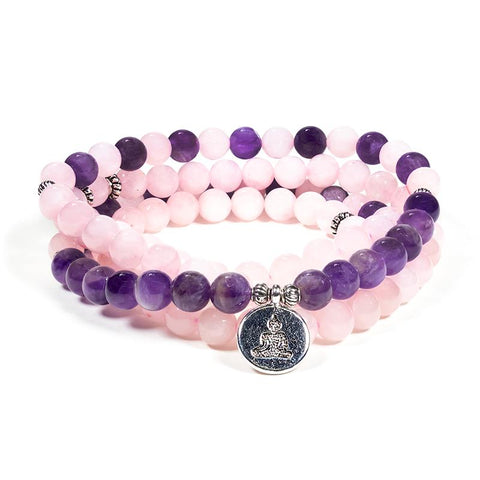 Rose Quartz/Amethyst Mala Beads (Buddha)