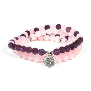Rose Quartz/Amethyst Mala Beads (Ohm)
