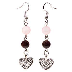 Heart Garnet / Rose Quartz Earrings
