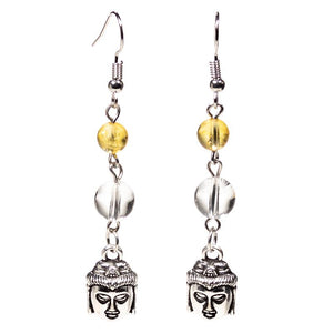 Buddha Rock Crystal / Citrine Earrings