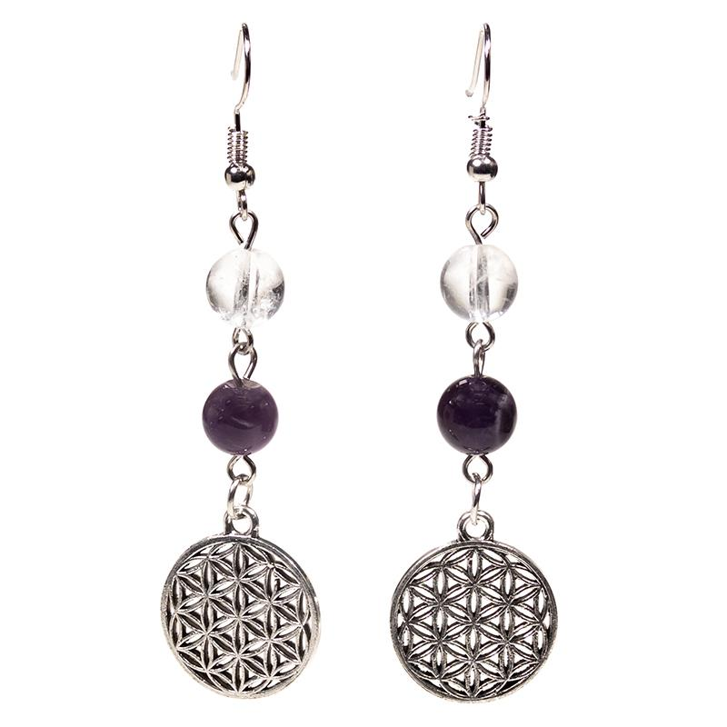 Flower Of Life Rock Crystal / Amethyst Earrings