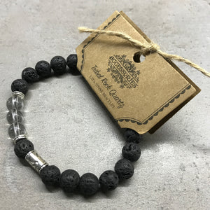 Lava Stone Bracelet - Tribal - Clear Quartz