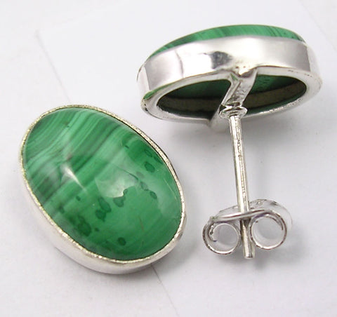 Malachite Sterling Silver Studs
