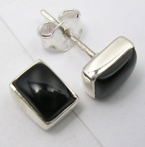 Black Onyx Sterling Silver Studs
