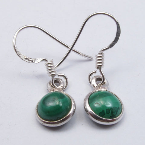 Malachite Sterling Silver Small Circle Earrings