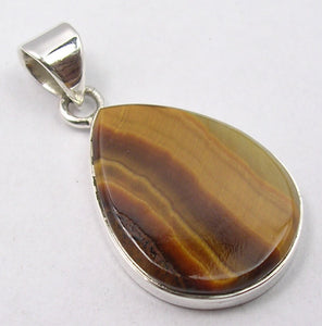 Tiger Eye Sterling Silver Teardrop Pendant