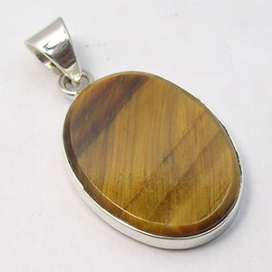 Tiger Eye Sterling Large Oval Pendant