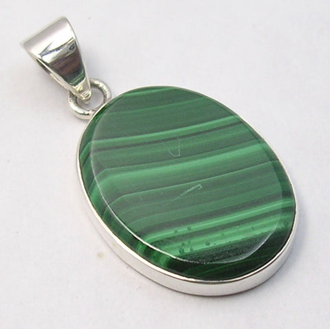Malachite Sterling Silver Large Oval Pendant