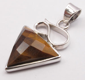 Tiger Eye Sterling Silver Embellished Pendant