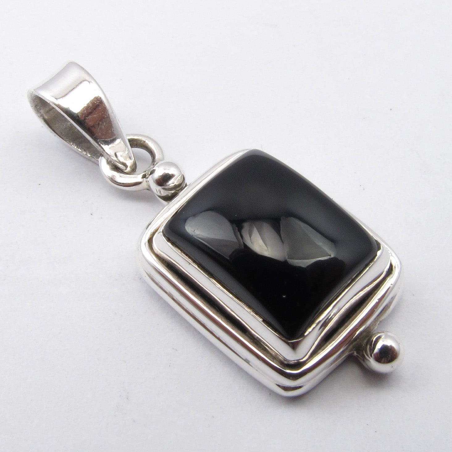 Black Onyx Sterling Silver Rectangle Pendant