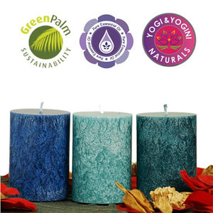 Sustainable Stearin Set Of 3 Candles - OCEAN
