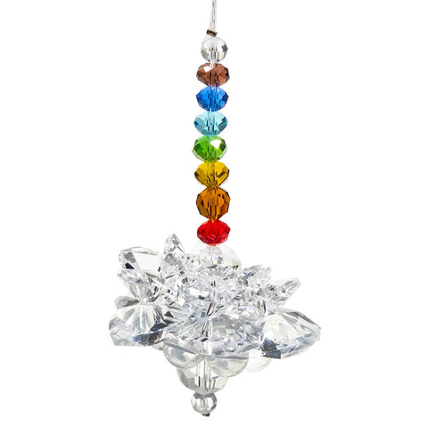 Feng Shui Rainbow Crystal Lotus with Chakra Chain
