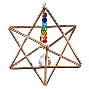 Hanging Merkaba Star with Chakra Crystal