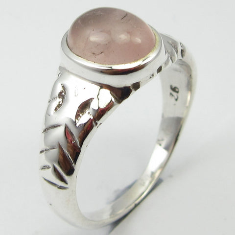 Rose Quartz Sterling Silver Detail Ring
