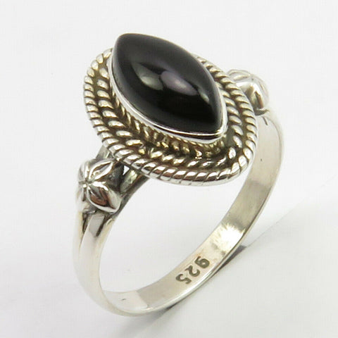 Onyx Sterling Silver Embellished Ring