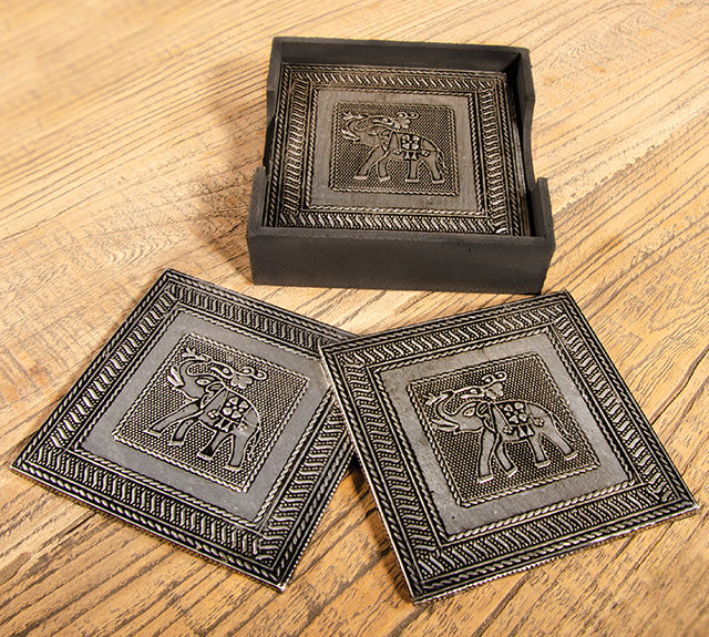 Set of 6 Elephant Design Coasters in Tray