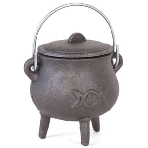 Small Cast Iron Cauldron With Triple Moon Design.