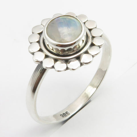 Rainbow Moonstone Sterling Silver Flower Ring