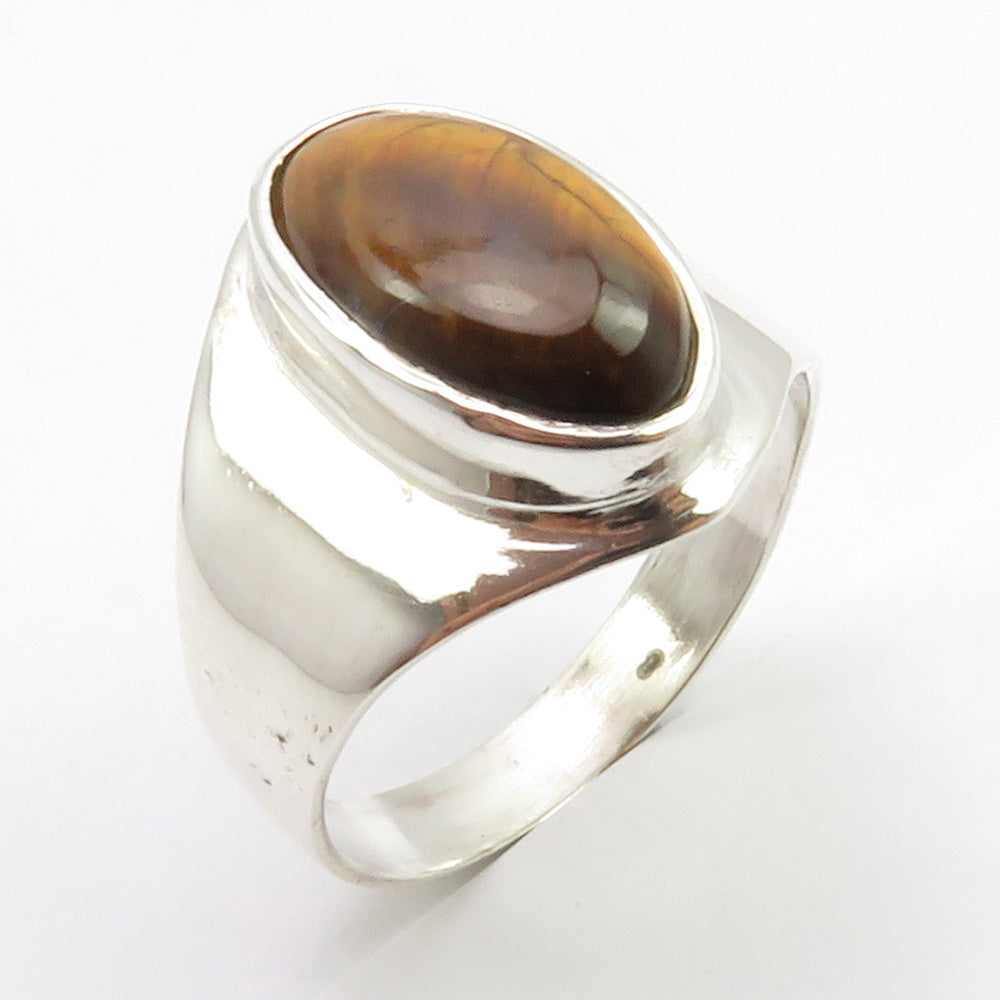Tiger's Eye Stirling Silver Oval Ring