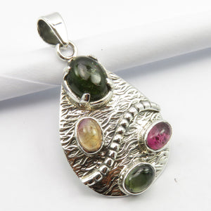 Pink & Green Tourmaline Sterling Silver Pendant