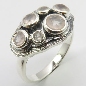 Rose Quartz Sterling Silver Embellished Cut Ring