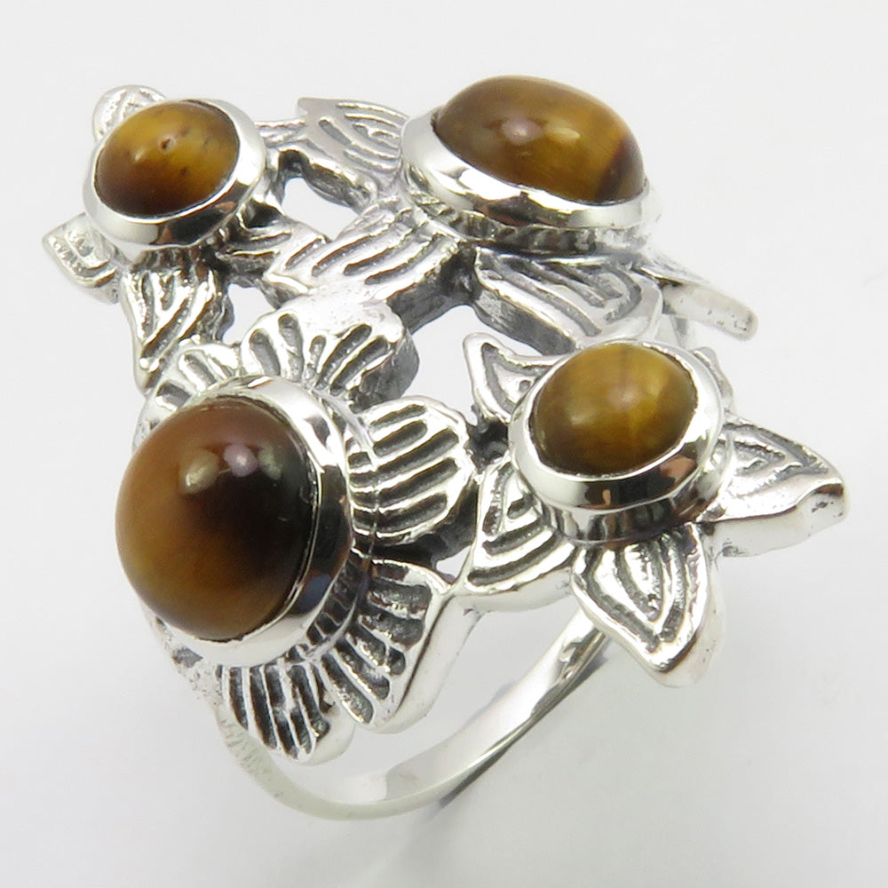 Tiger Eye Sterling Silver Embellished Flower Ring
