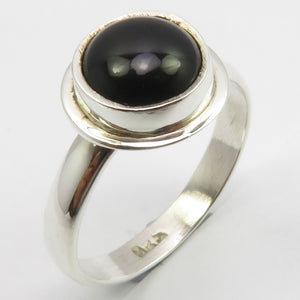 Black Onyx Sterling Silver Round Ring