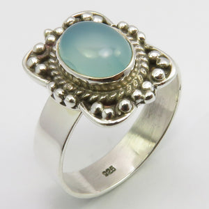 Aqua Chalcedony Sterling Silver Ring