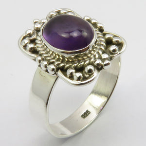 Amethyst Sterling Embellished Silver Ring