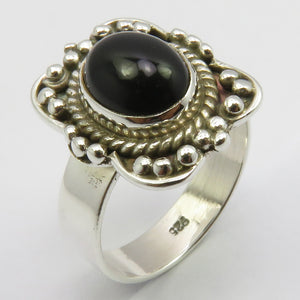 Black Onyx Sterling Silver Embellished Ring