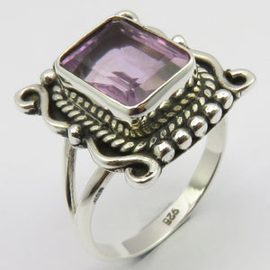 Amethyst Sterling Embellished Cut Silver Ring