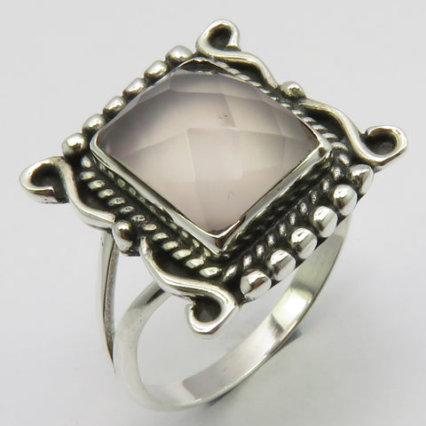 Rose Quartz Sterling Silver Embellished Cut Rectangle Ring