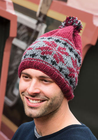 Baggy Beanie with Snowflake Pattern