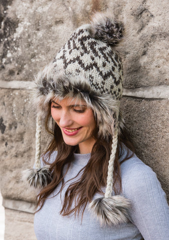 Makalu Earflap Hat with Faux Fur Trim