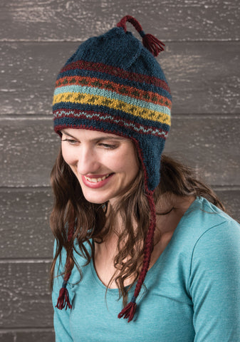 Namche Hand Knitted Simple Stripe Earflap Hat