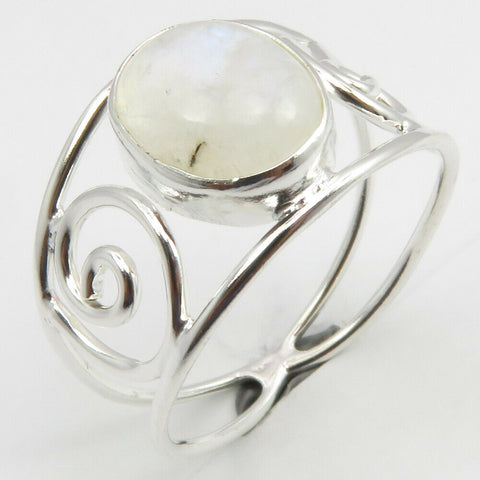 Rainbow Moonstone Sterling Silver Embellished Spiral Ring