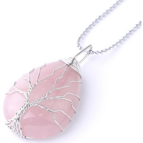 Tree Of Life Pendant - Rose Quartz