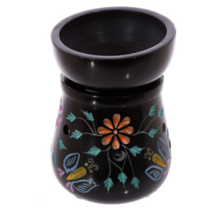 Black Soapstone Oil Burner - Flower / Butterfly  Coloured 2 Piece